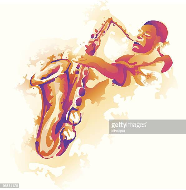 splashing solo - saxaphone stock illustrations, clip art, cartoons, & icons