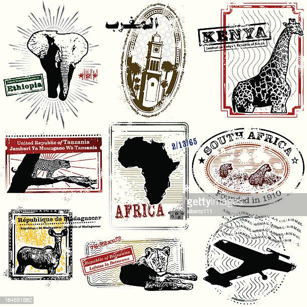 splendid african travel stamps - ethiopia stock illustrations, clip art, cartoons, & icons