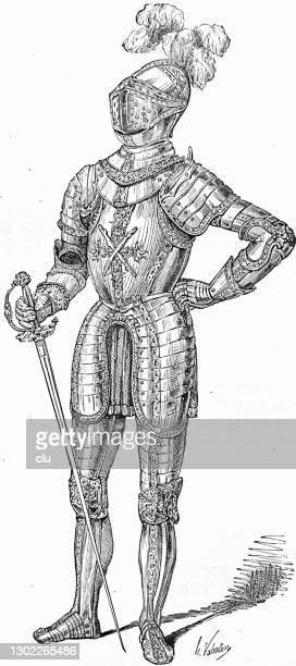 bildbanksillustrationer, clip art samt tecknat material och ikoner med splendid rustning av en riddare, hertig karl den djärve från bourgogne - duke