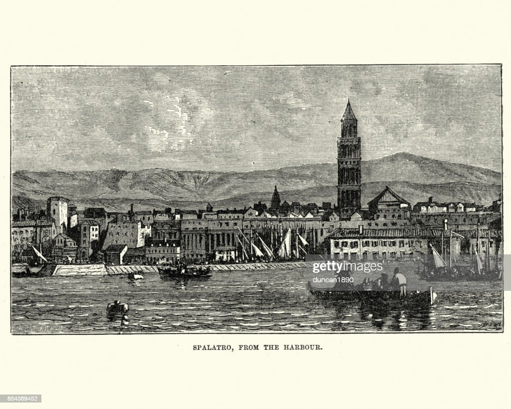 Split, Croatia, from the Harbour, 19th Century : stock illustration