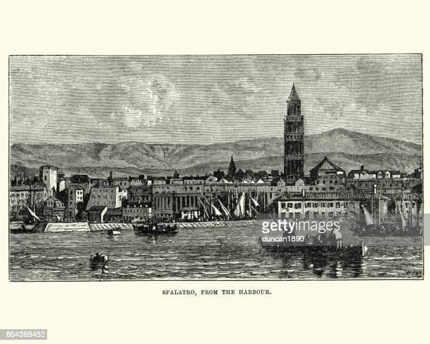 split, croatia, from the harbour, 19th century - croatia stock illustrations, clip art, cartoons, & icons