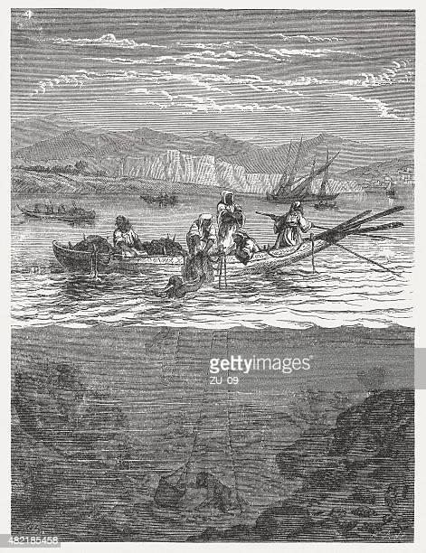 Sponge diving, published in 1868