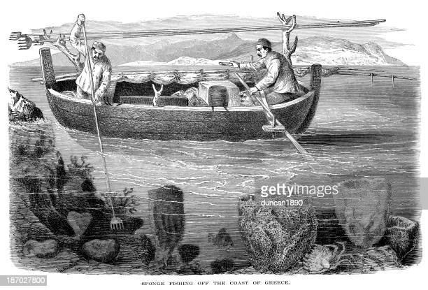 sponge fishing - greek islands stock illustrations, clip art, cartoons, & icons