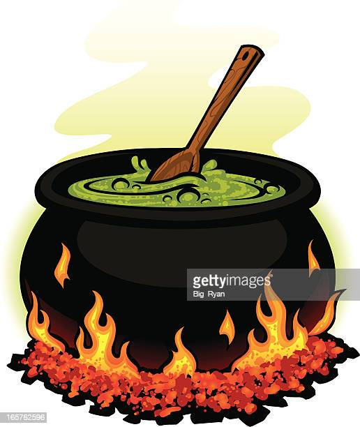 spooky cauldron - cauldron stock illustrations, clip art, cartoons, & icons