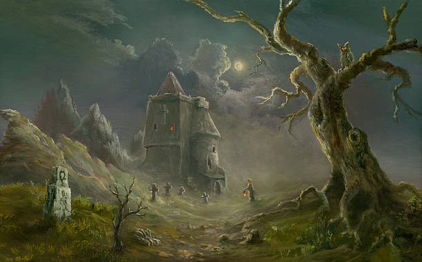 spooky church - fantasy stock illustrations