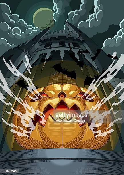 spooky halloween pumpkin - spooky stock illustrations