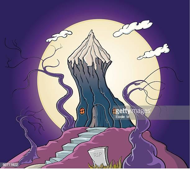 spooky tree house / maison hantée dans un arbre - maison stock illustrations, clip art, cartoons, & icons