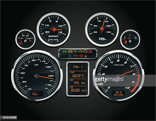 sport car speedometer - dashboard stock illustrations