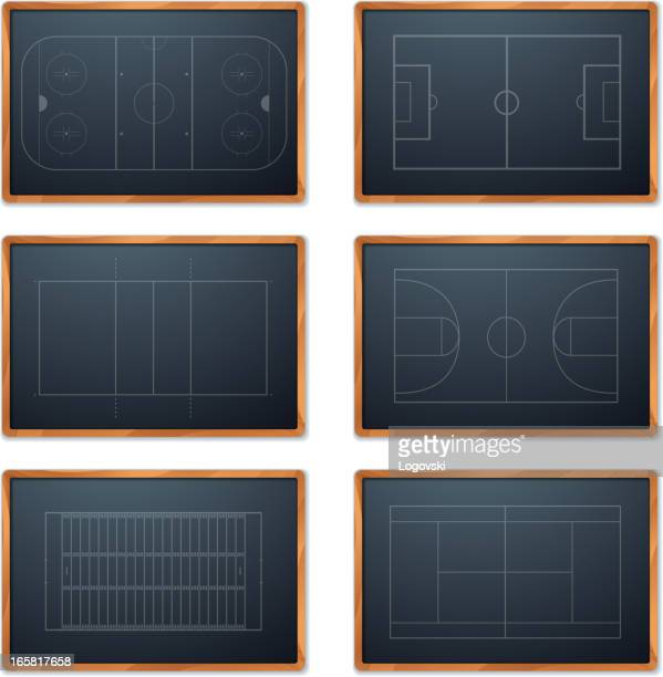 ilustraciones, imágenes clip art, dibujos animados e iconos de stock de deporte chalkboard - cancha de baloncesto