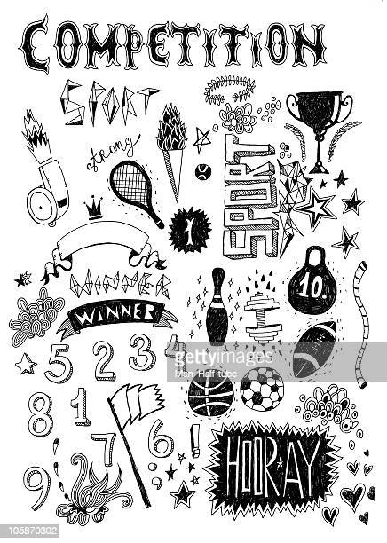 sport doodle - sport torch stock illustrations, clip art, cartoons, & icons