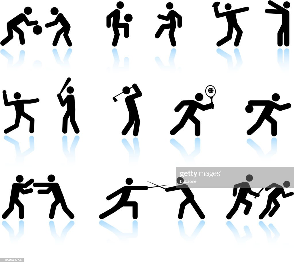 Sport games and exercise black & white vector icon set