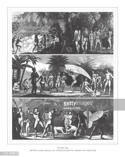 sports and duels of various south american indians engraving antique illustration, published 1851 - indigenous peoples of south america stock illustrations