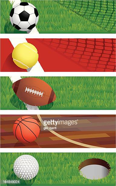 sports banners - rugby ball stock illustrations