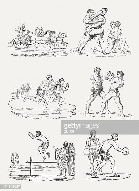sports disciplines of the ancient olympic games - classical greek style stock illustrations