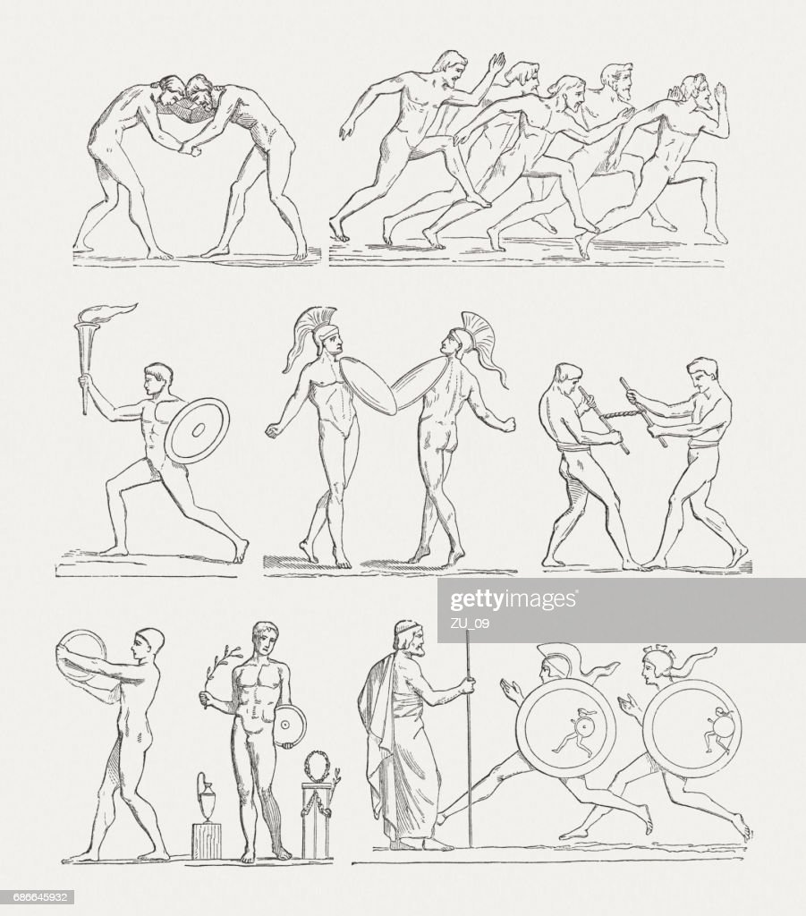 . Games of Antiquity, wood engravings, published in 1880 : stock illustration