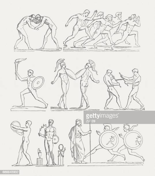 sports disciplines of the ancient olympic games, woodcuts, published 1880 - the olympic games stock illustrations