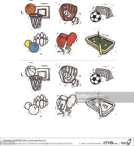 ilustraciones, imágenes clip art, dibujos animados e iconos de stock de sports equipment displayed against white background - guantes de portero