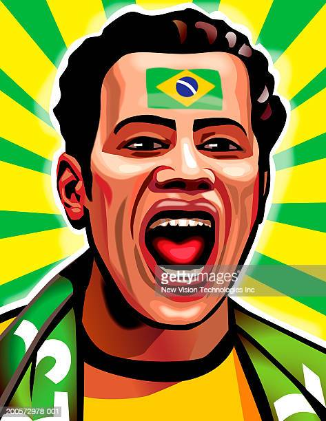 Sports fan with Brazilian flag painted on forehead cheering