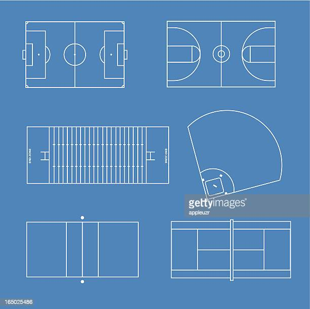 sports fields - tennis stock illustrations