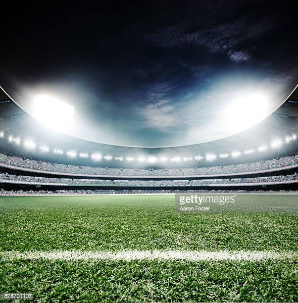 sports stadium at night - football field stock illustrations, clip art, cartoons, & icons