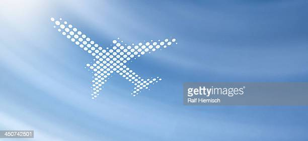 spot patterned airplane against soft abstract background - colour gradient stock illustrations