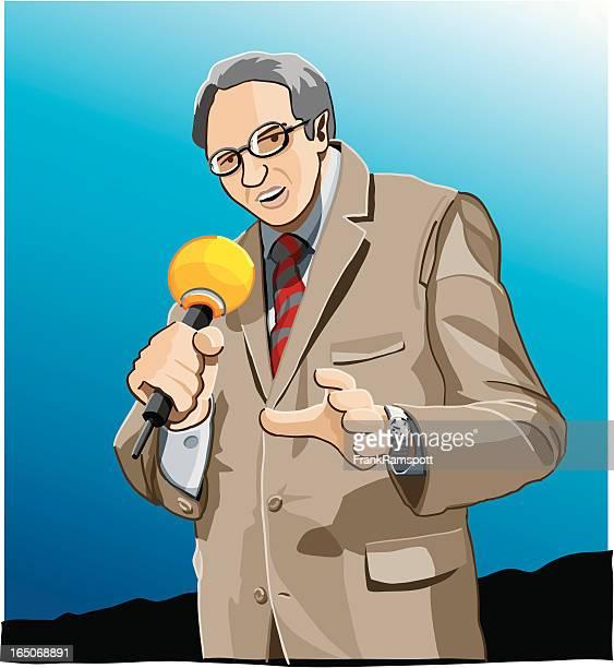 spot reporter - tv reporter stock illustrations, clip art, cartoons, & icons