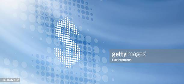 Spotted dollar sign against blue background