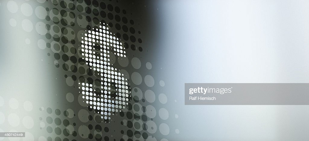 Spotted dollar sign reflected on abstract surface : stock illustration