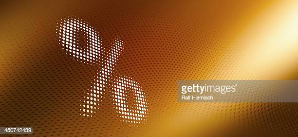 spotted percentage sign against diminishing dot patterned background - percentage sign stock illustrations