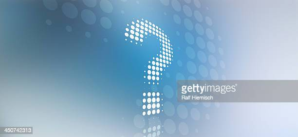 spotted question mark against a background of blue and grey light - asking stock illustrations