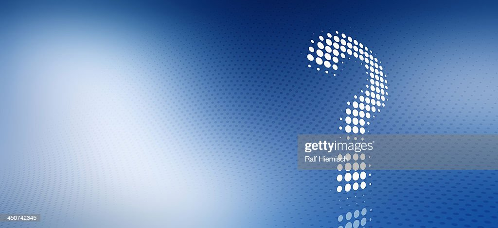 Spotted question mark against a blue and white gradient background : Stock Illustration