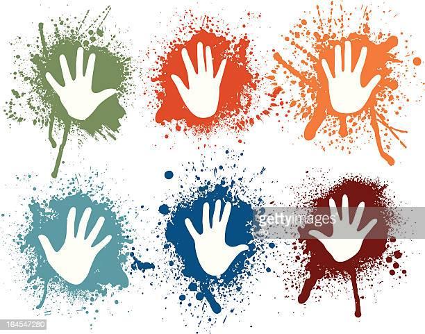 ilustraciones, imágenes clip art, dibujos animados e iconos de stock de aerosol de manos - huella de mano