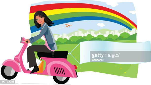 spring banner - moped stock illustrations, clip art, cartoons, & icons