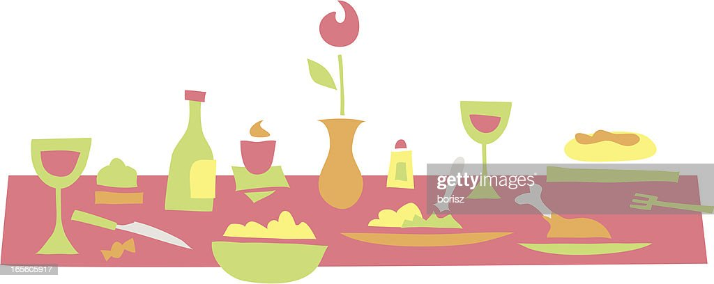 spring dinner : stock illustration