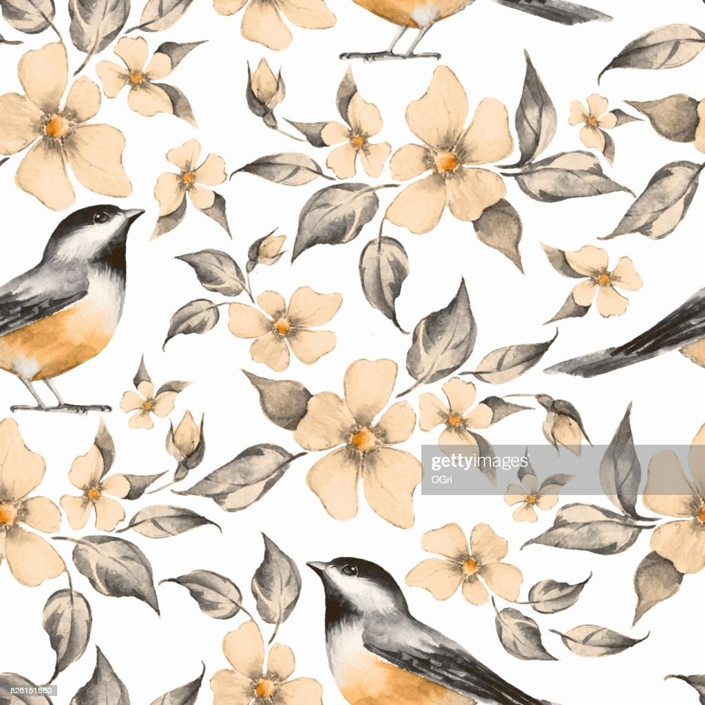 Spring Flowers And Birds Seamless Pattern 10 Stock Illustration