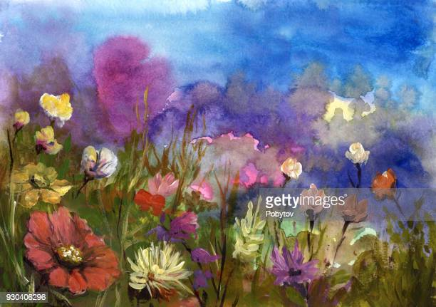 spring flowers, painted background