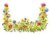 bright watercolor frame decorative summer element