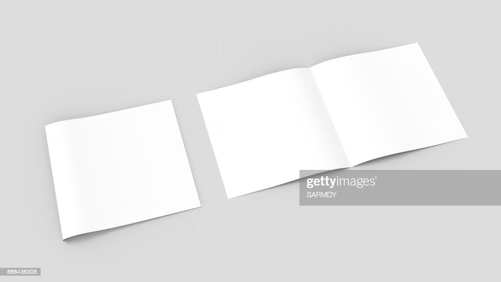 Spuare Bifold Half Fold Brochure Mock Up 3d Illustrating