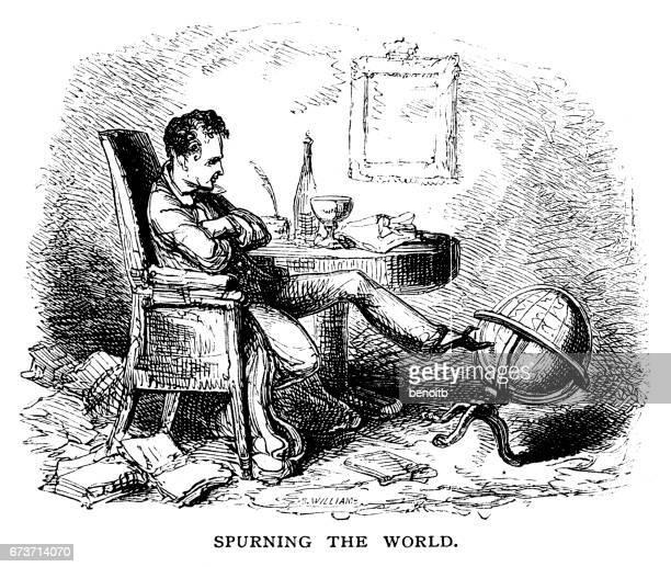ilustraciones, imágenes clip art, dibujos animados e iconos de stock de spurning the world - un solo hombre