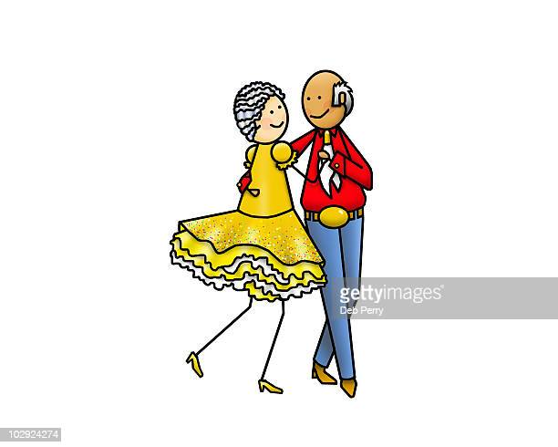 Square dancing couple