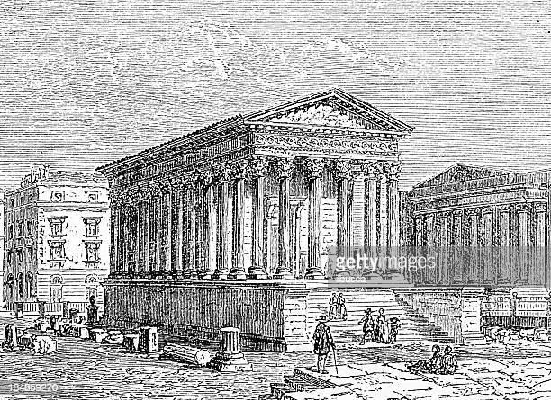 maison carrée (squared house) in nimes - maison stock illustrations, clip art, cartoons, & icons