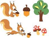 Squirrel & acorn design elements