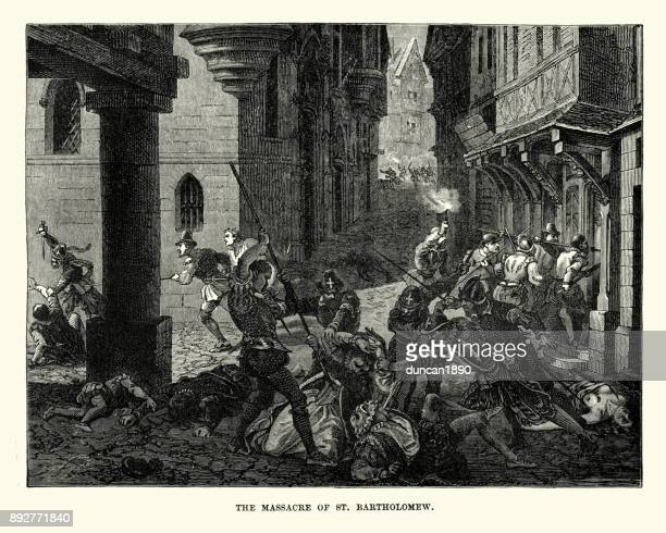 st. bartholomew's day massacre - protestantism stock illustrations, clip art, cartoons, & icons