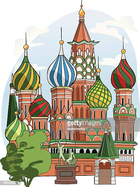 st. basil cathedral - onion dome stock illustrations, clip art, cartoons, & icons