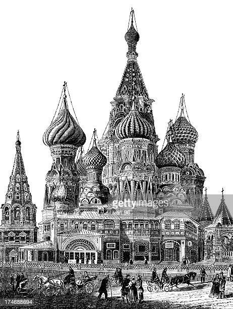 st. basil cathedral - red square stock illustrations, clip art, cartoons, & icons