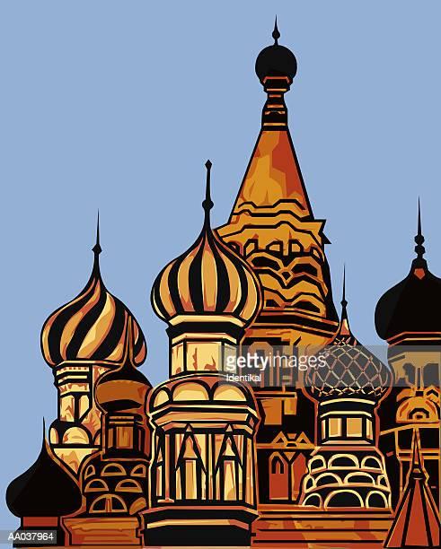 ilustrações, clipart, desenhos animados e ícones de st. basil's cathedral - cúpula estilo russo