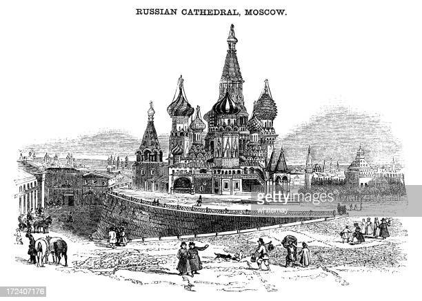 st basil's cathedral, moscow (victorian woodcut) - onion dome stock illustrations, clip art, cartoons, & icons