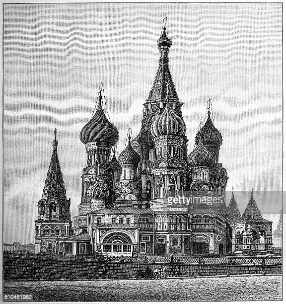 st basil's cathedral, moscow - onion dome stock illustrations, clip art, cartoons, & icons