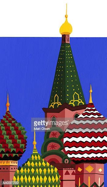 ilustrações, clipart, desenhos animados e ícones de st. basil's cathedral, red square, moscow, russia - cúpula estilo russo