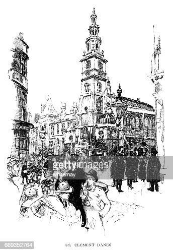 St Clement Danes Church Strand London Stock Illustration